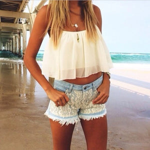 Summer White Chiffon Suspenders Blouses - J20Style - 1