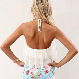 Summer White Chiffon Suspenders Blouses - J20Style - 2