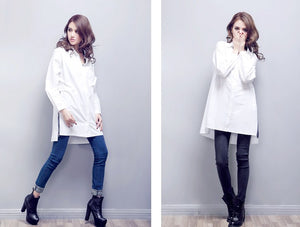 Casual Cotton White Shirt Blouse - J20Style - 5