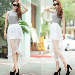 Summer Long Lace Section Jupe Tulle Skirt - J20Style - 3