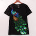 Women Peacock Sequined Printer T-shirt