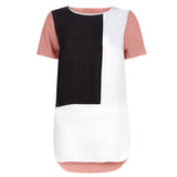 New Short Sleeve Long Loose Patchwork Chiffon T Shirt