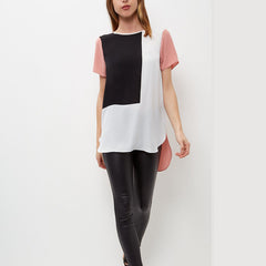 Boyfriend Style Long Loose Patchwork Chiffon T Shirt