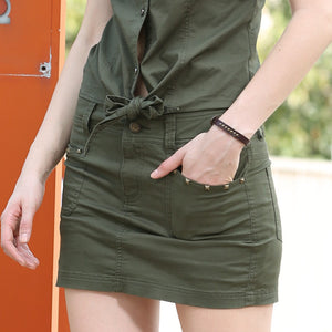Summer Style Army Green Pocket Skirt - J20Style - 3