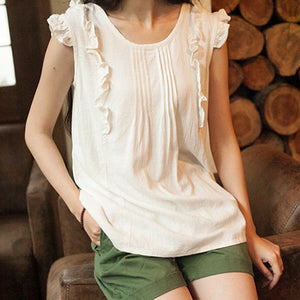 Summer O-Neck Sleeveless Cotton Blouse - J20Style - 1
