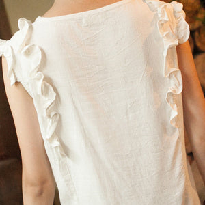 Summer O-Neck Sleeveless Cotton Blouse - J20Style - 4