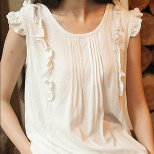 Summer O-Neck Sleeveless Cotton Blouse - J20Style - 2