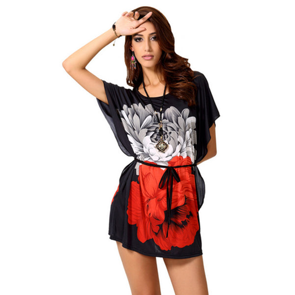 Summer Big Floral Contrass Color Blouse - J20Style - 1