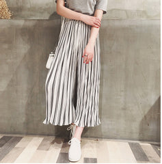 2016 summer new women loose chiffon trousers Bigfoot pants culottes nine vertical stripes waist wide leg pants - J20Style