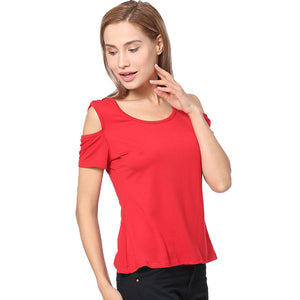 Cotton Off Shoulder Solid Color Hollowed Out Lace Tshirt