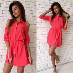 Turn Down Collar Slim Button Casual Mini Party Dress
