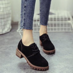 England Style Lace-up Oxford Simple Thick Heel Shoes