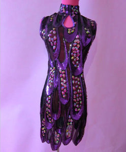 Big Bright Purple Sequins Stones Dress