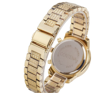Full Stainless Steel Rhinestone Gold Watch