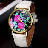 PU Leather Rose Floral Printed Analog Quartz Wrist Watch