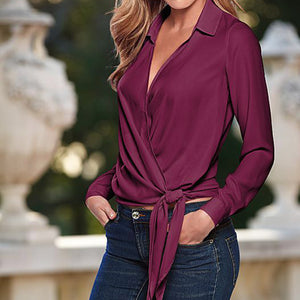 Women Imitated Long Sleeve V Neck Silk Blouse Casual Top Plus Size Shirt