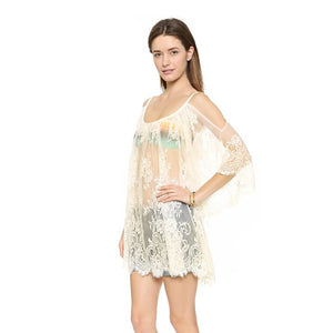 Strap Sheer Floral Lace Embroidered Crochet Dress
