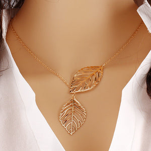 Metal Leaf Pendant with Chain - J20Style - 1