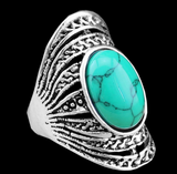 Silver Plated Ring with Oval Torquoise - J20Style - 2
