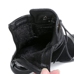 Genuine Patent Leather Motorcycle Martin Ankle Boots