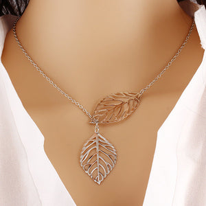 Metal Leaf Pendant with Chain - J20Style - 3