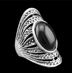 Silver Plated Ring with Oval Torquoise - J20Style - 3