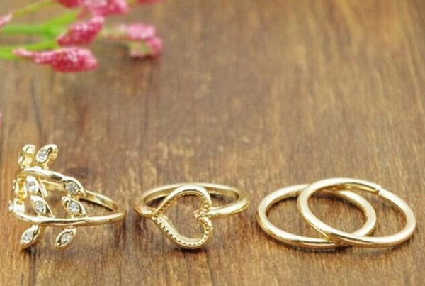 4PCS/Set Rings Urban Gold Plated Crystal - J20Style - 1