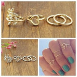 4PCS/Set Rings Urban Gold Plated Crystal - J20Style - 3