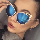 Hollow Shades Superstar Retro Big Cateye Mirror Sun Glasses