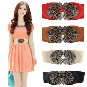 Elastic Belt with Alloy Flower - J20Style - 1