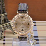 Glass Heart Pendant Women Rhinestone Alloy Wrist Watch - J20Style - 1