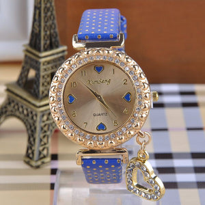 Glass Heart Pendant Women Rhinestone Alloy Wrist Watch - J20Style - 3