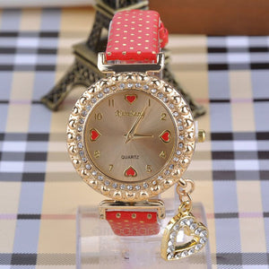 Glass Heart Pendant Women Rhinestone Alloy Wrist Watch - J20Style - 4