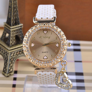 Glass Heart Pendant Women Rhinestone Alloy Wrist Watch - J20Style - 2