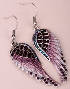 Angel Wings Dangle Earrings Antique Gold Silver Plated