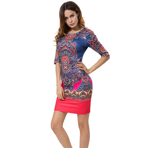 Autumn Vintage Dress Pencil Tribal Print Dress