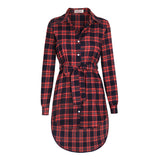Plaid Casual Button Irregular Hem Top