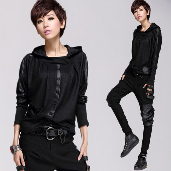 European Autumn with a hood Leather-Spliced T-shirt