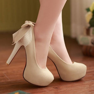 High Quality Sweet Bowtie Wedding Heels - J20Style - 1