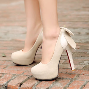 High Quality Sweet Bowtie Wedding Heels - J20Style - 2