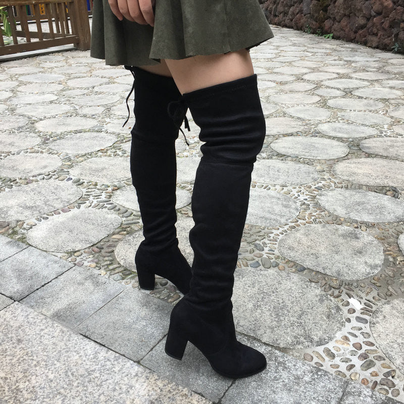 75d1f0fba Block Thick Heel Stretch Over the Knee Boots – J20Style