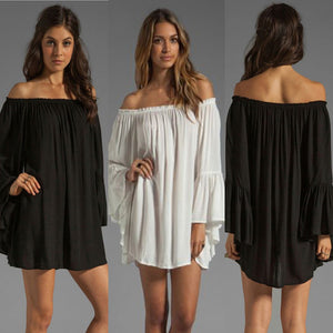 Off Shoulder Bell Sleeve Chiffon Ruffled Mini Dress - J20Style - 1