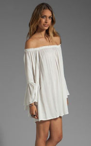 Off Shoulder Bell Sleeve Chiffon Ruffled Mini Dress - J20Style - 5