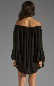 Off Shoulder Bell Sleeve Chiffon Ruffled Mini Dress - J20Style - 4