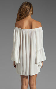Off Shoulder Bell Sleeve Chiffon Ruffled Mini Dress - J20Style - 6