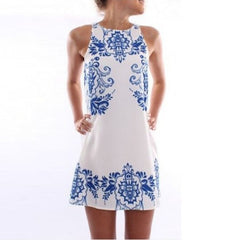 Floral Printed Casual Sleeveless Polyster Dress - J20Style - 1