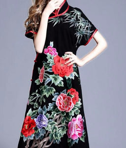 Black Vintage Flower Embroidery Cotton Linen Dress