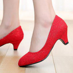 Crochet Lace Red Bridal Shoes - J20Style - 4