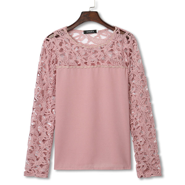Pink Crochet Lace Flower Shirt - J20Style