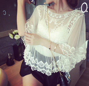 Summer Sheer Floral Embroidery Shirt - J20Style - 4